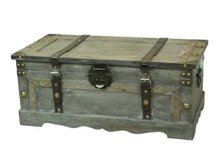 large Wooden Storage Trunk   Rustic Gray   Vintiquewise  Concrete