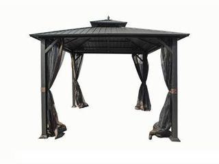 10 ft  x 10 ft  Holden Outdoor Patio Black Hard Top Galvanized Steel Gazebo in good condition