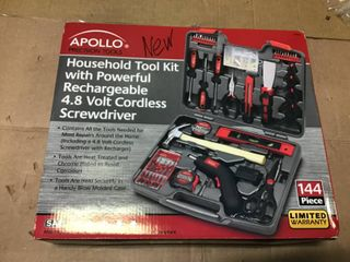 Home Tool Kit with 4 8 Volt Cordless Screwdriver  144 Piece  by Apollo in good condition