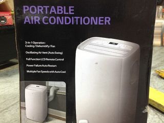 10 000 BTU  6 500 BTU  DOE  115 Volt Portable Air Conditioner with Dehumidifier Function and lCD Remote in White by lG Electronics IN GOOD CONDITIONS in good condition