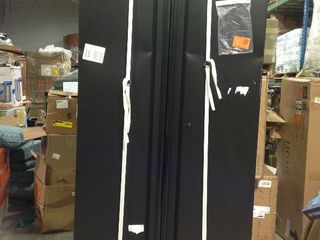 Heavy Duty Welded in  W x 81 in  H x 24 in  D Steel Garage Cabinet Set in Black Damage and missing key please review the photo