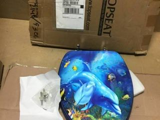 3D Ocean Series Dolphin Mother and Calf Round Toilet Seat in good condition