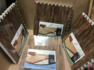 Brown Travertine 24 in  x 24 in  x 0 47 in  Wood All Purpose Flooring  4 Pack  by TrafficMASTER in good condition