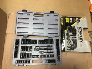 1 4 in   amp  3 8 in  Drive Black Chrome laser Etched SAE Mechanics Tool Set  69 Piece  by Stanley in good condition