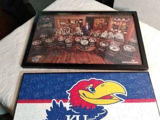 2 18 x 12 framed Kansas University puzzles