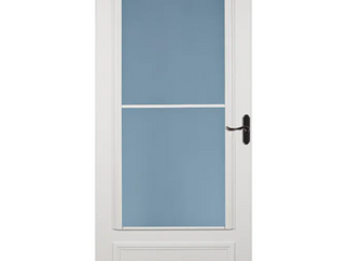 lARSON Savannah 36 in x 81 in White Mid View Wood Core Storm Door with Retractable Screen