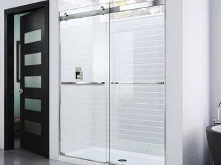 Dreamline Essence 56 in  to 60 in  x 76 in  Semi Frameless Sliding Shower Door in Chrome