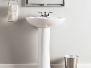AquaSource 33 66 in H White Vitreous China Pedestal Sink  TOP ONlY