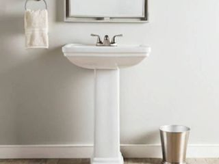 AquaSource 33 6 in H White Vitreous China Pedestal Sink  TOP ONlY   no base