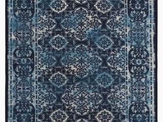 Zig Zag Porto Tile 3 x 5 Blue Indoor Distressed Overdyed Area Rug