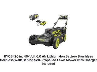 RYOBI 20 in. 40-Volt 6.0 Ah Lithium-Ion Battery Brushless Cordless Walk Behind Self-Propelled Lawn Mower with Charger Included! SEE PICS!