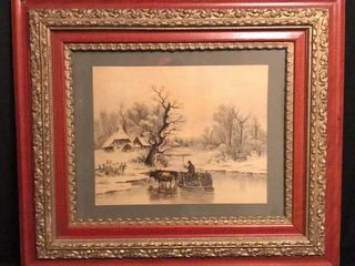 Antique Framed Winter Scene Print