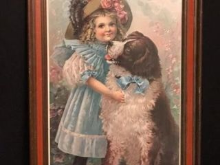 Antique Print Girl w  Dog