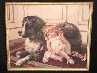 Antique Print Sleeping Girl w  Dog