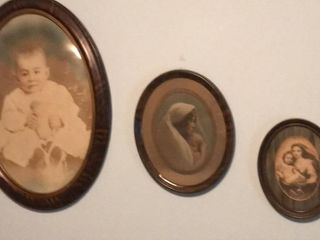 3  Antique Photos w Oval Frames