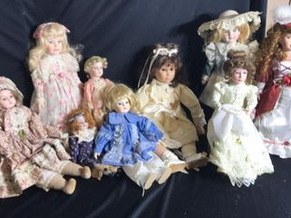 9  Porcelain Head Dolls