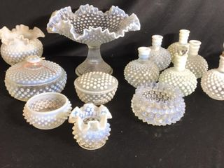 13  Pieces of Irredecent Hobnail