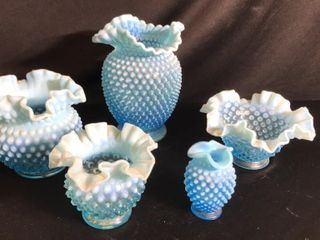 5  Pieces of Blue Hobnail
