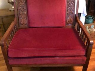 Red Velvet and Oak love Seat