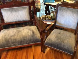 Blue Velvet Ornamental Chair and love Seat