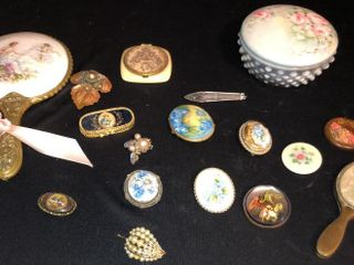 Brooches  Mirrors  and Hobnail Dish