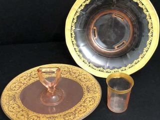 Pink Depression Glass with Gold Trim