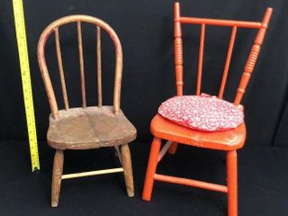 2 Small Wooden Doll Chairs