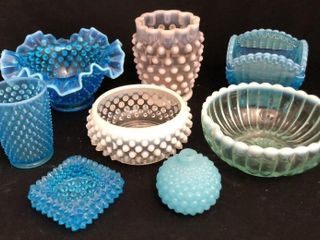Blue and White Hobnail Glass
