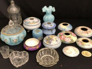 Porcelain and Glass Dresser Dishes  lids  and Vase