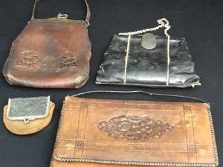 4  Antique leather Purses