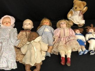 5  Dolls  2 Stuffed Dolls  Teddy Bear