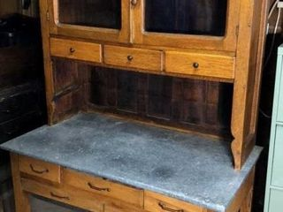 Antique Kitchen Cabinet with Tin Top