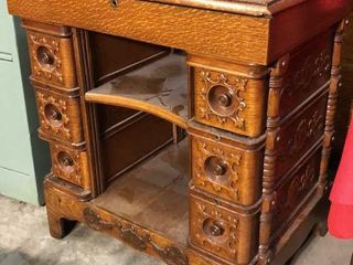 Antique Oak End Table with Drawers