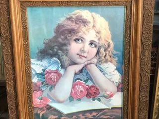 Antique Print with Ornate Frame
