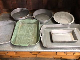 Enamelware Trays  Pans  and Bowls