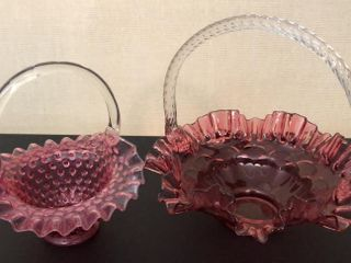 Pink Fenton Glass Baskets