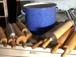 11 Rolling Pins and 15  Enamel Pot