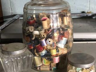 3  Jars of Buttons and Spools