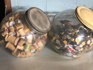 2 large Candy Jars Filled w  Spools   Buttons