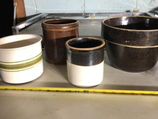 4  Stoneware Crocks and Bowl