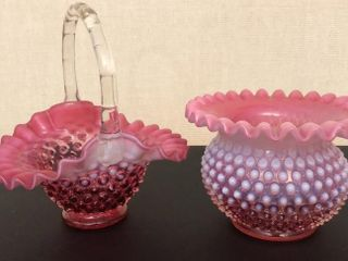 Fenton Basket And Fluted Bowl