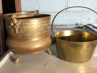 2 large Brass Buckets