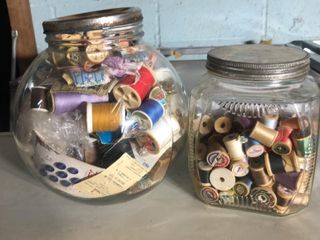 2 large Jars of Thread and Buttons