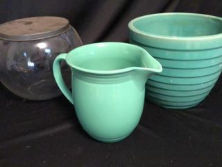 Green Pitcher  Pot  and Jar
