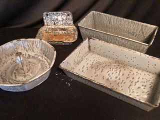 Grey Enamel Cake Pans and Soap Dish