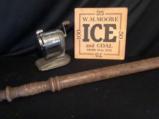 Billy Club  WM Moore Ice Sign and Pencil Sharpener