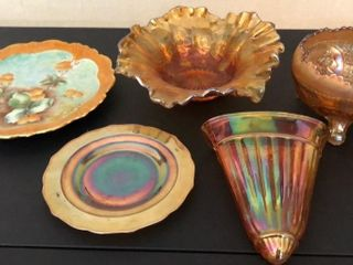 5  Pieces of Carnival Glass