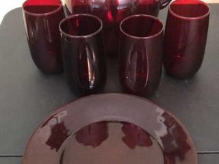 Red Pitcher  4 Glasses and Plate
