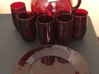Red Glass Pitcher  5 Glasses and Plate