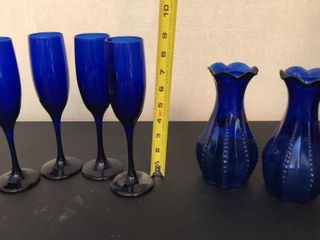Blue Glass Champagne Flutes and Vases